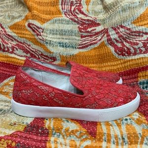 ASH Slip On Loafer Sneaker Illusion Lace Red